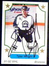 Tyler Wright Swift Current Broncos 1991-92 7th Inning Sketch Signed Card