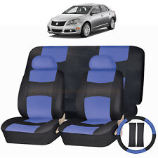 PU LEATHER BLUE & BLACK SEAT COVERS 11PC SET for SUZUKI KIZASHI ERTIGA