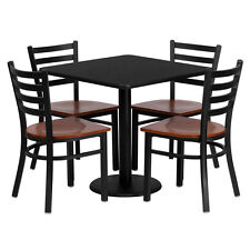 restaurant table chairs 30 black laminate with 4 ladder back metal chairs - Restaurant Tables For Sale