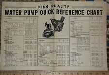 1949 King Quality Specification Chart Parts Sheet 1930s -1949