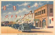 Mexico, Tijuana, Main Street, First Block Linen Postcard