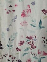Dunelm Linen Blend Meadow Wstercolour Floral Pleated Curtines 117 x 137cm Lined