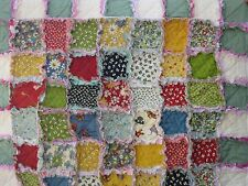BABY GIRLS RAG QUILT ABC  FRONT POSY PRINT BACK