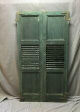 Pair Antique Window Shutters Wood Center Louvered Flat Panel Green VTG 591-20B