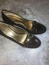 Coach Womens SZ 8 B Black Patent Leather Heel Pumps Shoes
