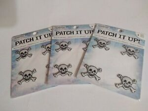 Patch It Up Lot 3, NEW 4 Pack Mini Skull Crossbones Iron On Applique Patches.