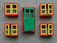 LEGO windows and doors for house (pack of 5) 2x4x3 green red yellow BRAND NEW