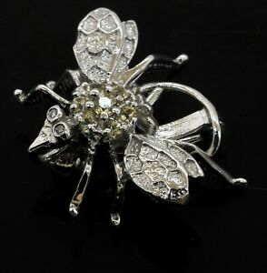 14K white gold 0.35CT Natural Yellow diamond fly insect brooch
