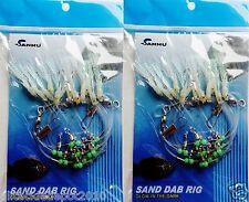 2 Packs Sand Dab Rigs 12 hooks glow squid sabiki bait glow in dark beads