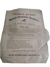 VINTAGE THOMAS MYERS WHOLESALE PERAMBULATOR PRICE LIST