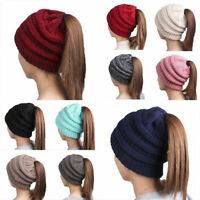 Winter Women Soft Messy High Bun Cap Ponytail Stretchy Knit Beanie Skull Hat Du