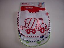 Nuby Bibs 3 Pack Feeding Baby Boys Girls One Size Trucks Red Blu Green White NWT