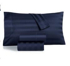 NIP Charter Club Damask Stripe Twin 3-Pc Sheet Set 550T 100% Supima Cotton NAVY