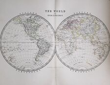 1881 LARGE ANTIQUE MAP THE WORLD IN HEMISPHERES WESTERN & EASTERN ASIA EUROPE