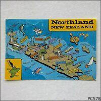 Northland New Zealand Tourist Map Postcard (P578)