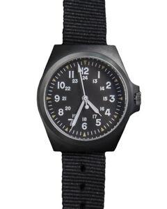 Mil-Tec Army Uhr US-Style S/Steel IP Armbanduhr Edelstahl Quarz Schwarz