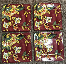 NEW set of 4 PIER 1 IMPORTS CASSANDRA square red yellow floral dinner plate 9""
