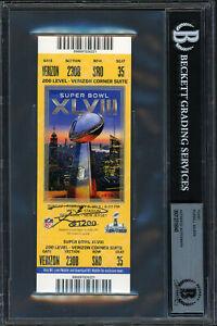 Russell Wilson Autographed Super Bowl XLVIII Ticket Seahawks Beckett 12516845