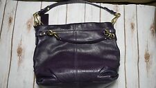 COACH 14142 RARE EGGPLANT PURPLE LEATHER BROOKE MEDIUM HOBO BAG - FREE SHIPPING