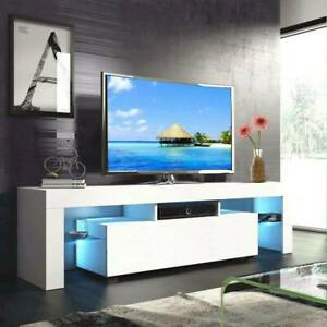 Modern TV Unit Cabinet Stand White High Gloss Doors with RGBW LED Light 130cm