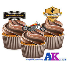 12 Cup Cake Decorations Motorbike Chopper Born To Ride Mix Edible Wafer Toppers