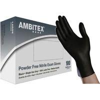 NITRILE GLOVES BLACK, EXAM POWDER FREE, BRAND AMBITEX, 100/BOX