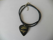 """YNGWIE J MALMSTEN Guitar Pick signature stamped leather braid 18"""" NECKLACE"""