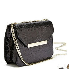 Guess Famous Crossbody purse Flap Handbag Chain Strap Gliter Black