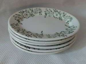 """vintage sterling china restaurant ware 7"""" oval plates, green floral. 6 plates"""