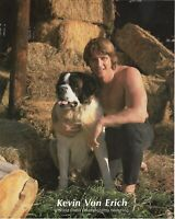 PHOTO ORIGINAL 8X10 OF KEVIN VON ERICH WRESTLER W/ ST. BERNARD DOG BO VERY RARE