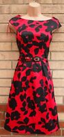 FLORENCE & FRED BLACK RED FLORAL BELTED SATIN PROM PARTY WEDDING DRESS 6 XS