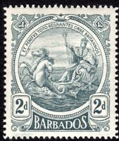 Barbados 1916 grey 2d multi-crown CA mint SG184