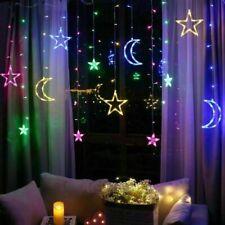 3.5M LED Star Moon Light Curtain Christmas Lights Fairy Lights Window Decor Lamp