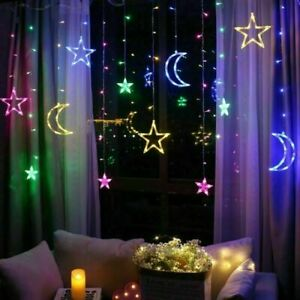3.5M LED Star Moon Light Curtain Christmas Lights Fairy Lights Window Decor Lamp