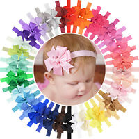 40pcs 3 Inch Grosgrain Ribbon Hair Bows Headbands for Baby Girls Infants Toddler