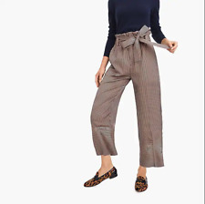 POINT SUR J. Crew Paperbag Pants High Rise Striped Brown size 8T Tall NWT