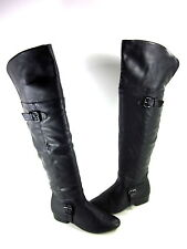 WANTED SHOES WOMEN'S AVERY KNEE-HIGH FASHION BOOTS BLACK SYNTHETIC US SIZE 6 MED