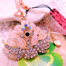Betsey Johnson AB Crystal Peacock Shell Rose Gold Pendant Chain Free Gift Bag