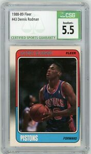 DENNIS RODMAN 1988-89 Fleer #43 Detroit Pistons Rookie RC HOF CSG 5.5 Excellent+