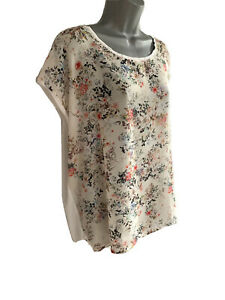 WAREHOUSE Floral print White Woven front Chiffon Front Tee TOP UK size 18
