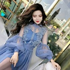 Casual Vintage Lace Dress Clothing Flower Designs Long Sleeve Mini Stylish Wears