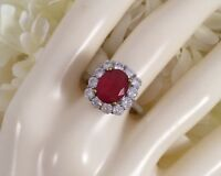 Antique Deco Jewellery Gold Ring Ruby and White Sapphires Vintage Jewelry sz P