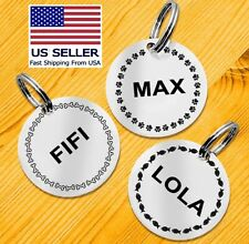 Pet Id Tag Personalized Dog Cat Tag Cute Patterns Double Sided Stainless Steel