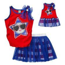 Girls Size 10 Dollie & Me Patriotic July 4Th Glitter Tank Top & Tutu Skort Set