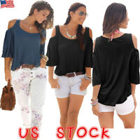 Women Summer Cold Shoulder Loose Top Blouse Ladies Casual Tops T-Shirt Plus Size