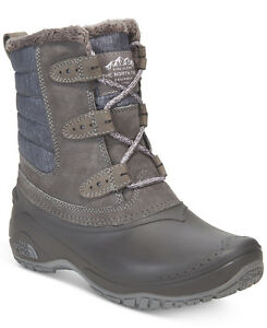 New North Face SHELLISTA II Women WaterProof Leather Shorty Boots Shoes Grey