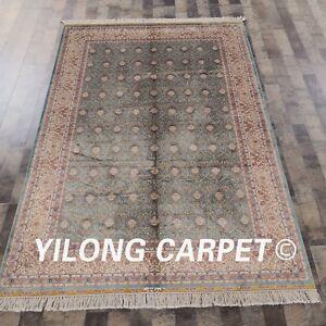 Yilong 5'x7.5' Handmade Silk Rug Blue All-over Living Room Oriental Carpet Z062A