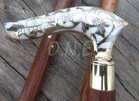 Designer Victorian Vintage Style Antique Brass Head Handle Walking Stick Cane