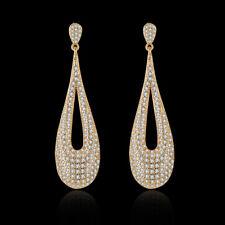 Wedding Bridal Teardrop Dangle Earrings Clear Cubic Zirconia Gold Plated Party