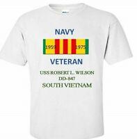 USS ROBERT L.WILSON DD-847 *SOUTH VIETNAM*VIETNAM VETERAN RIBBON 1959-1975 SHIRT